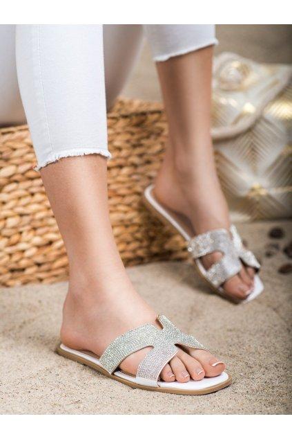 Biele dámske šľapky Trendi kod 7-2082W