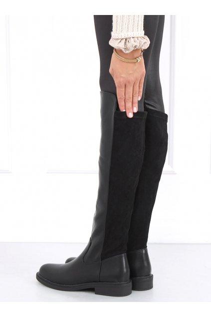 Dámske čižmy mušketierky čierne DE1061