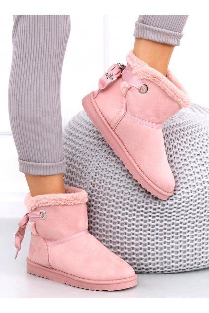Dámske členkové topánky ružové na plochom podpätku F3185
