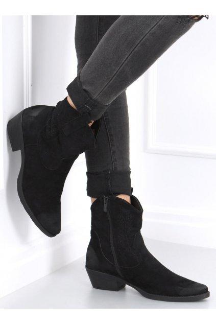 Dámske členkové topánky čierne na širokom podpätku NC970P