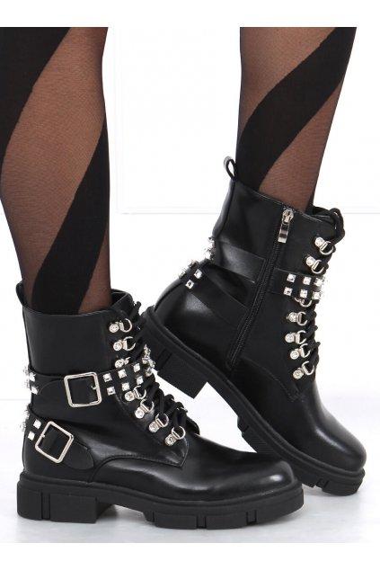 Dámske členkové topánky čierne na plochom podpätku CLS-160
