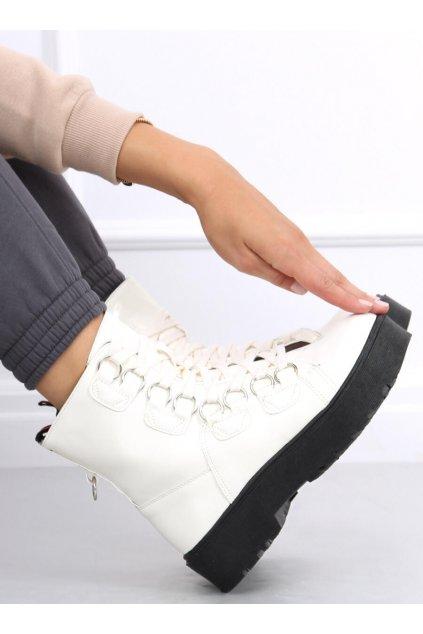 Dámske členkové topánky biele na plochom podpätku BL2072-2