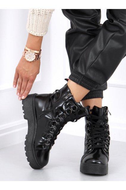Dámske členkové topánky čierne na plochom podpätku BL2072-2