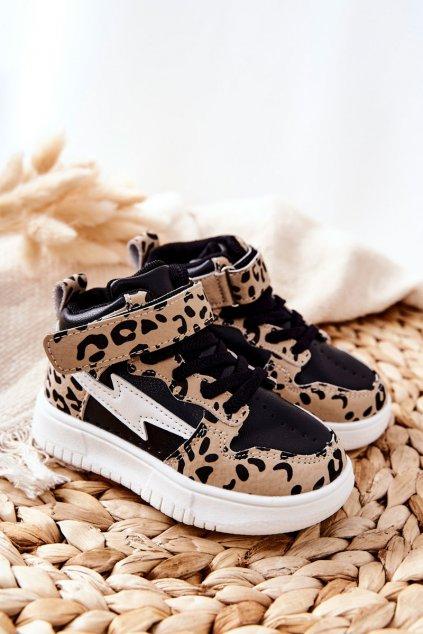 Detské tenisky farba čierna kód obuvi 101-2K/3K BLK/LEOPARD