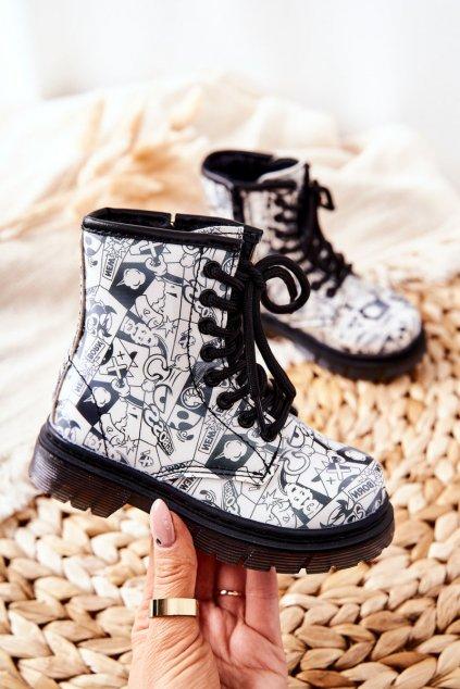 Detské členkové topánky farba čierna kód obuvi 20325-1A/2A BLK/WHT