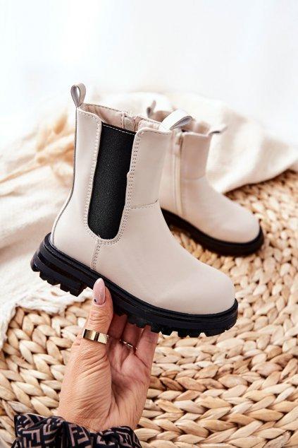 Detské členkové topánky farba čierna kód obuvi 7503-2B/3B BEIGE