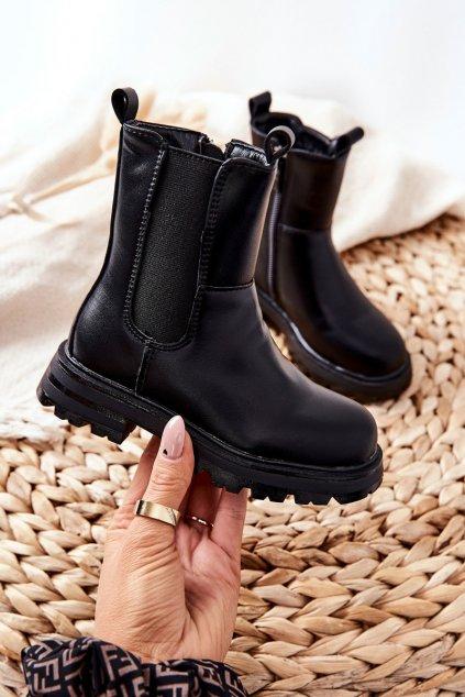 Detské členkové topánky farba čierna kód obuvi 7503-2B/3B BLK