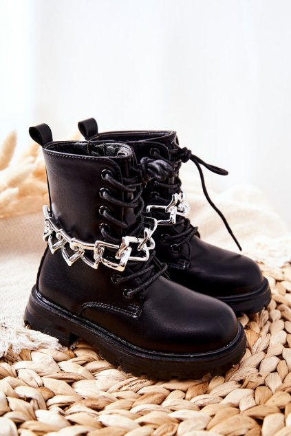 Detské členkové topánky farba čierna kód obuvi 7508-2B/3B BLK