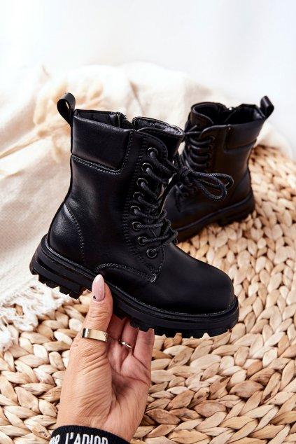 Detské členkové topánky farba čierna kód obuvi 7507-2A/3A BLK