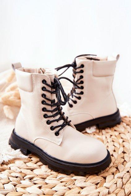Detské členkové topánky farba hnedá kód obuvi 7507-3B BEIGE