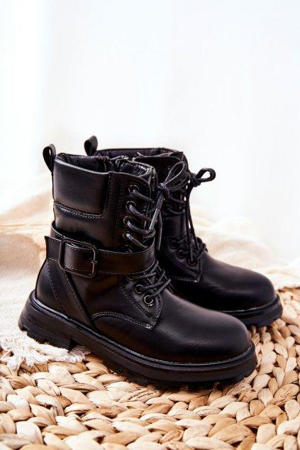 Detské členkové topánky farba čierna kód obuvi 7506-3A BLK