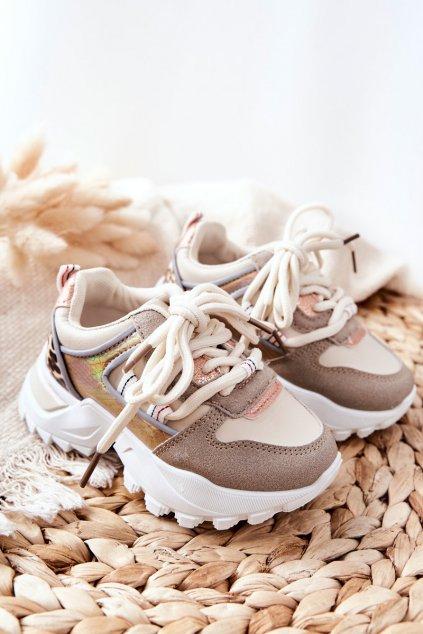 Detské tenisky farba hnedá kód obuvi 813-2B/3B BEIGE