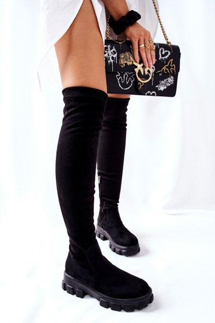Dámske čižmy farba čierna kód obuvi 21-53001BK BLK