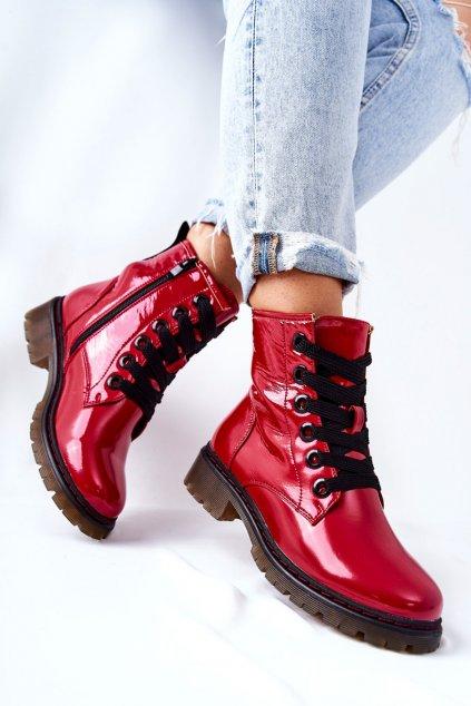 Členkové topánky na podpätku farba červená kód obuvi 21BT35-4233 RED