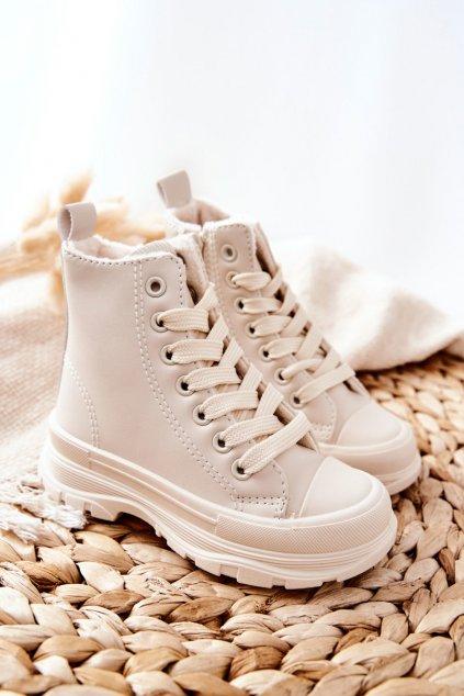 Detské tenisky farba hnedá kód obuvi 820-2B/3B BEIGE