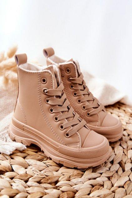 Detské tenisky farba hnedá kód obuvi 820-2C/3C KHAKI