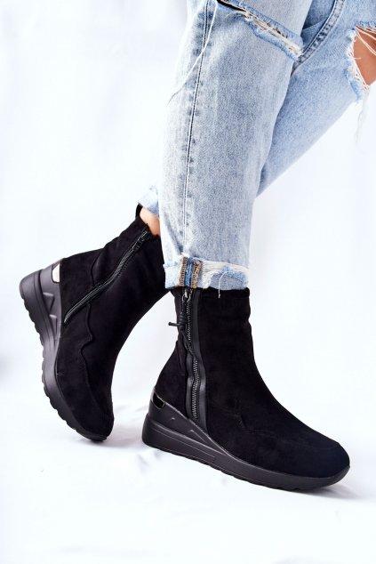 Členkové topánky na podpätku farba čierna kód obuvi 21BT35-4224 BLK