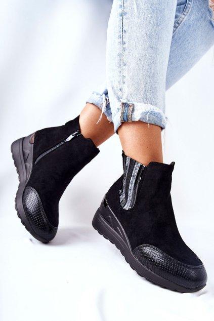 Členkové topánky na podpätku farba čierna kód obuvi 21BT35-4391 BLK