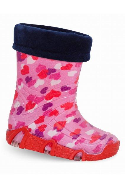 Detské zateplené gumáky ružové so srdiečkami NJSK 03 Pink
