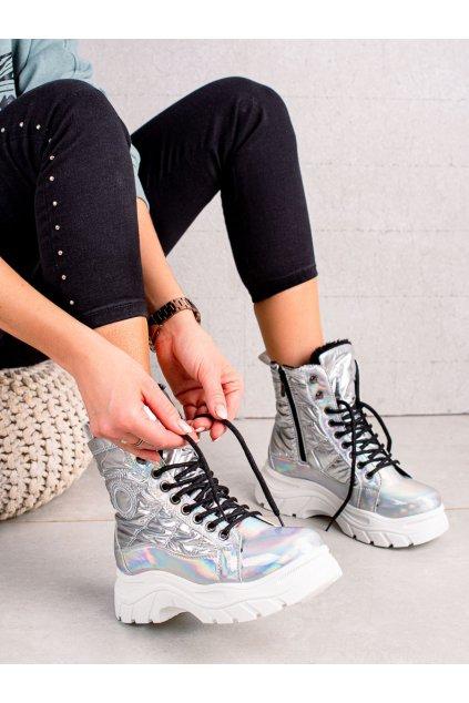 Sivé dámske topánky Vinceza kod PET22-34520S