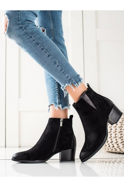 Čierne dámske topánky W. potocki kod 21-12017B