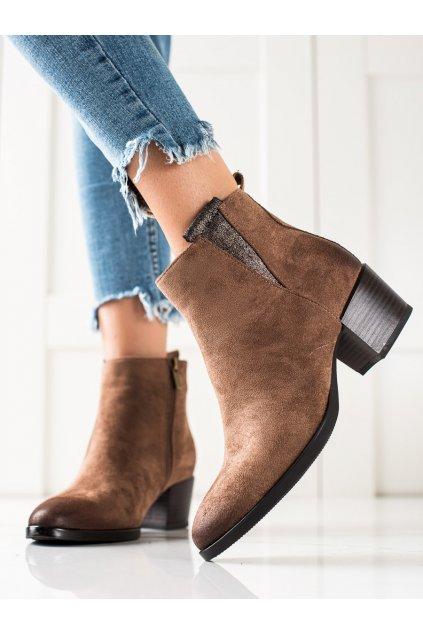 Hnedé dámske topánky W. potocki kod 21-12017BE