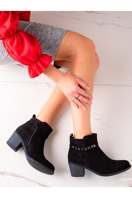 Čierne dámske topánky Trendi kod VRO-152B