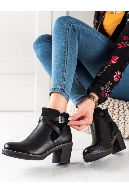 Čierne dámske topánky Trendi kod VRO-158B