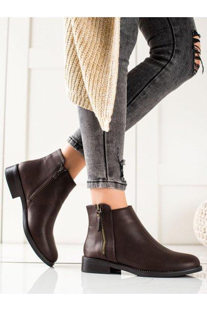 Hnedé dámske topánky Lovery kod MM-830BR