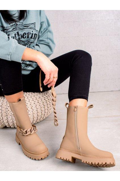Hnedé dámske topánky Trendi kod VR109APR