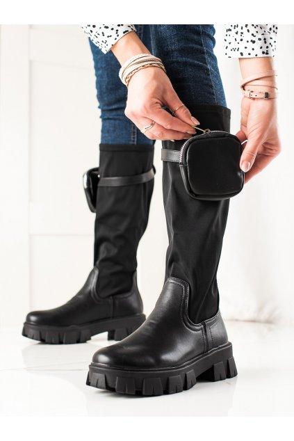 Čierne dámske čižmy Best shoes kod FH8S10B