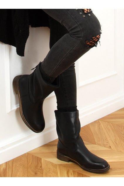 Dámske čižmy mušketierky čierne Z141