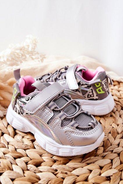 Detské tenisky farba sivá kód obuvi C-T9168-C SILVER