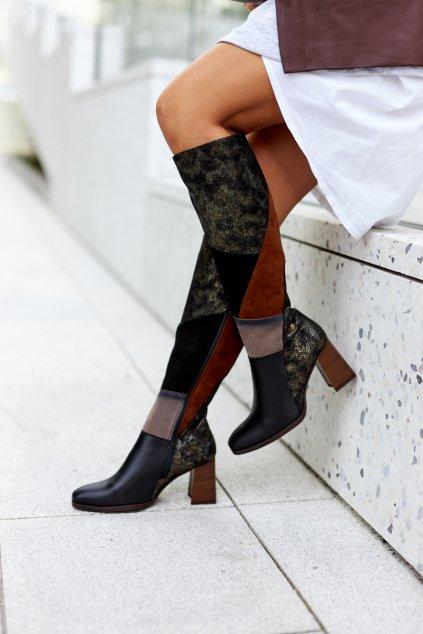 Dámske čižmy farba čierna kód obuvi 05240-02 BROWN