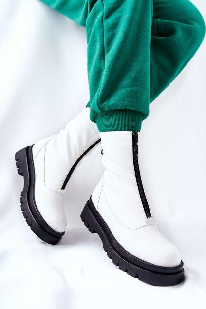 Členkové topánky na podpätku farba biela kód obuvi 21BT35-4259 WHT