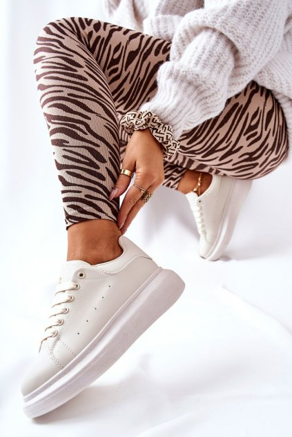 Dámske tenisky farba hnedá kód obuvi 111 BEIGE