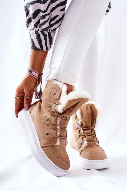 Členkové topánky na podpätku farba hnedá kód obuvi AB908 KHAKI