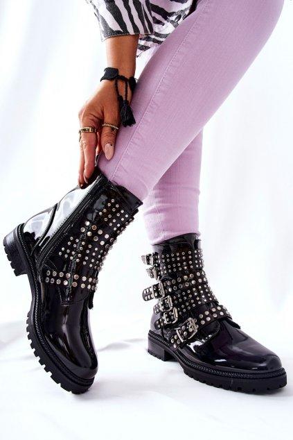 Členkové topánky na podpätku farba čierna kód obuvi DE230M BLK MIRROR