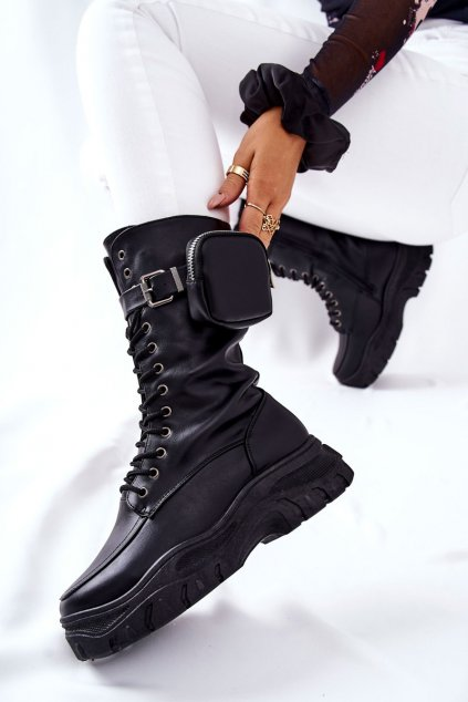 Členkové topánky na podpätku farba čierna kód obuvi 55-73 BLK-PU