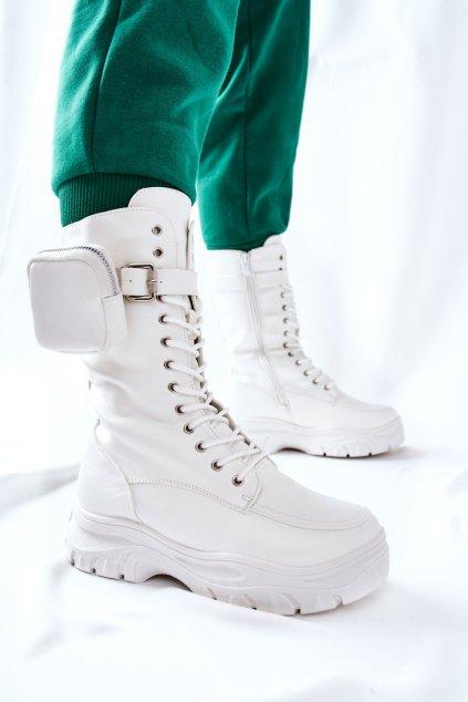 Členkové topánky na podpätku farba biela kód obuvi 55-73 WHT
