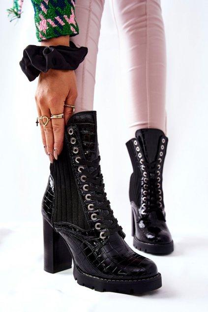 Členkové topánky na podpätku farba čierna kód obuvi M529 BLK MIRROR STONE