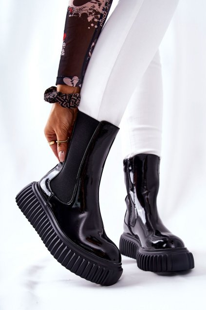 Členkové topánky na podpätku farba čierna kód obuvi RB118P BLK