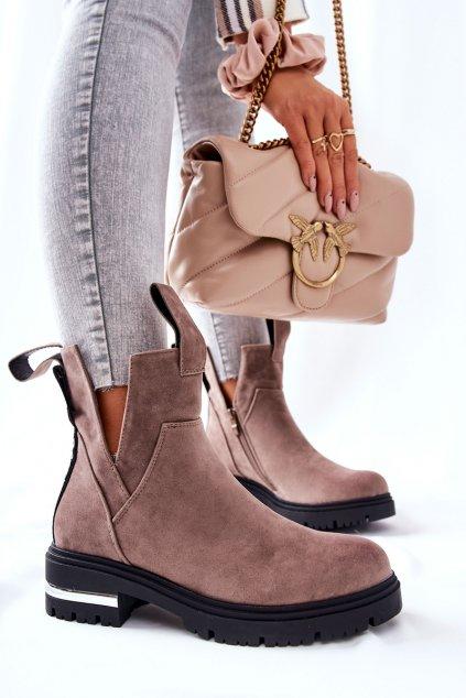 Členkové topánky na podpätku farba hnedá kód obuvi NC1162 KHAKI