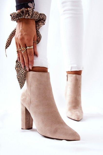 Členkové topánky na podpätku farba hnedá kód obuvi UK31P BEIGE