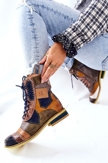 Členkové topánky na podpätku farba viacfarebná kód obuvi 05095-39 MULTIKOLOR