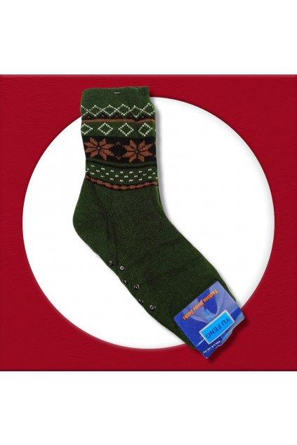 Pánske zateplené ponožky na zimu lesnícka zelená YF01M Green Jaeger