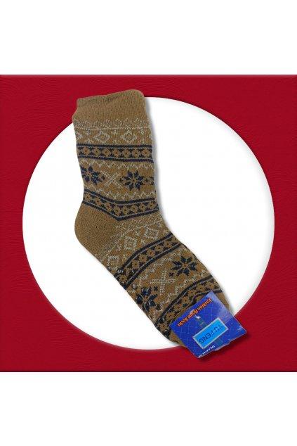 Pánske zateplené ponožky na zimu hnedé YF02M Brown