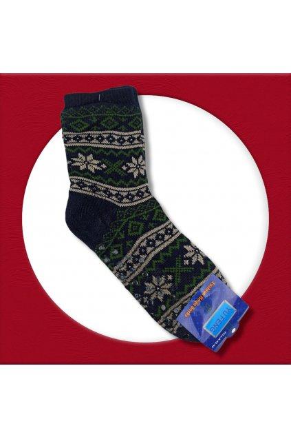Pánske zateplené ponožky na zimu modré so zeleným vzorom YF02M Blue