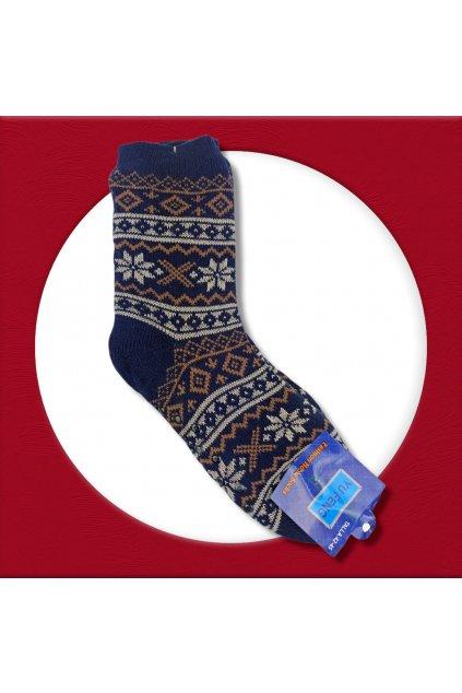 Pánske zateplené ponožky na zimu modré s hnedým vzorom YF02M Blue