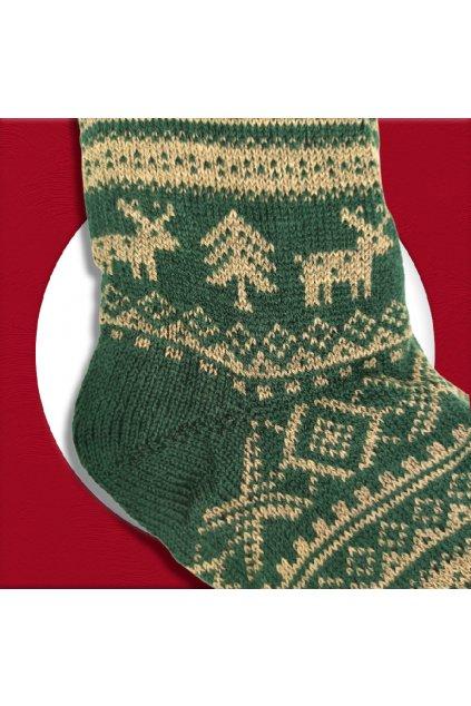 Pánske zateplené ponožky na zimu zelené s poľovníckym vzorom YF03M GREEN